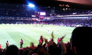 United players applauding the traveling reds in the Trevor Brooking stand